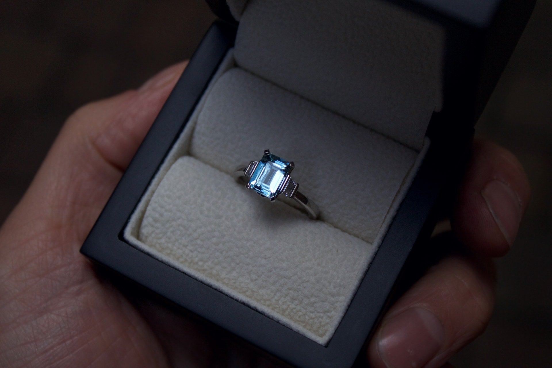 Moira Patience Fine Jewellery Bespoke Commission Handmade Aquamarine and Diamond Engagement Ring in Edinburgh Scotland