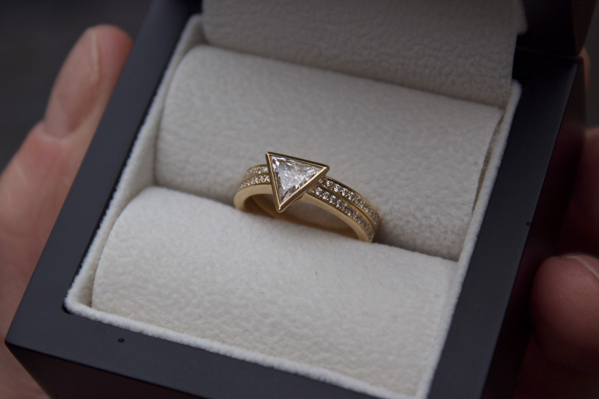 Moira Patience Fine Jewellery Bespoke Commission Handmade Diamond Wedding Band and Triangle Diamond Engagement Ring in Edinburgh