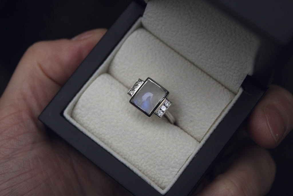 Moira Patience Fine Jewellery Bespoke Commission Moonstone Diamond Ring in Edinburgh