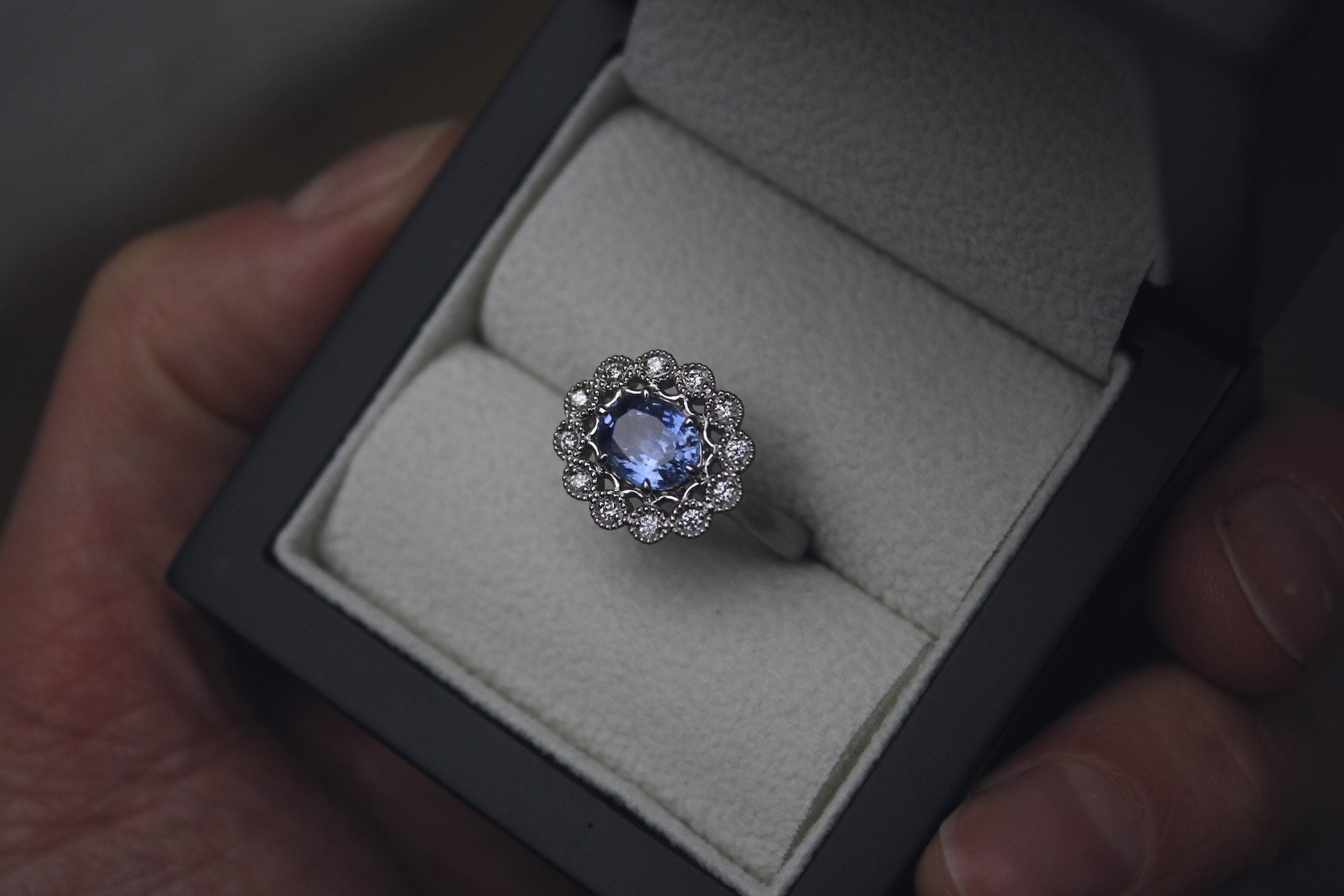 Natural Sapphire & Diamond Engagement Ring