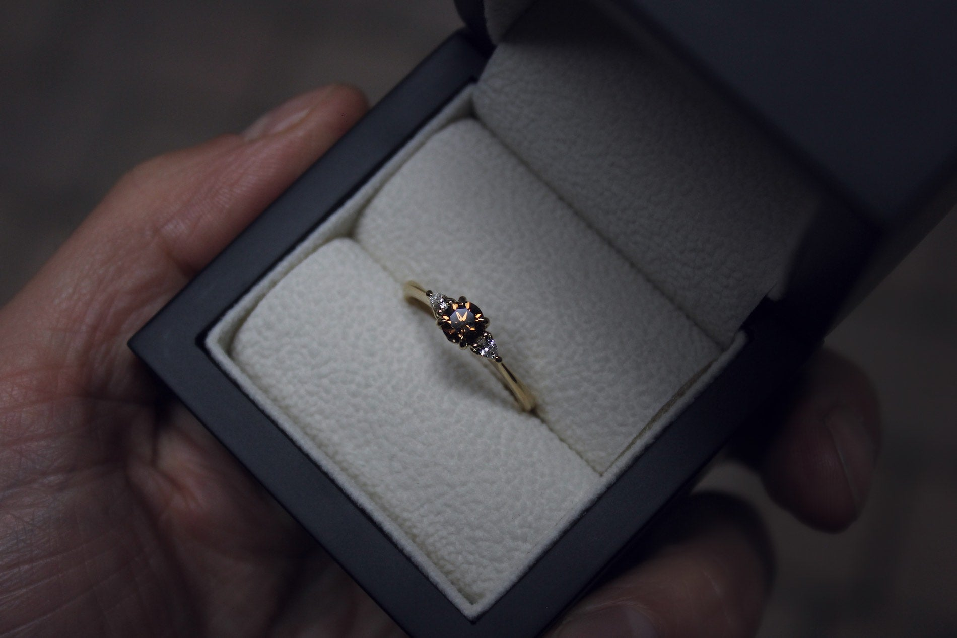 Norwegian Inspired Cognac Diamond Engagement Ring