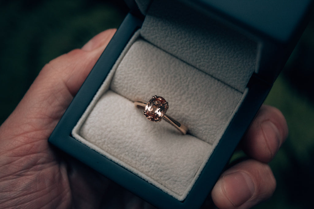 Bespoke Peach Garnet Ring