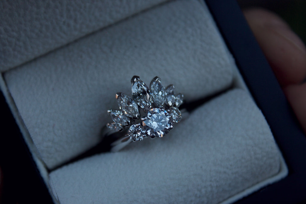 Platinum Tiara Marquise Diamond Wedding Ring