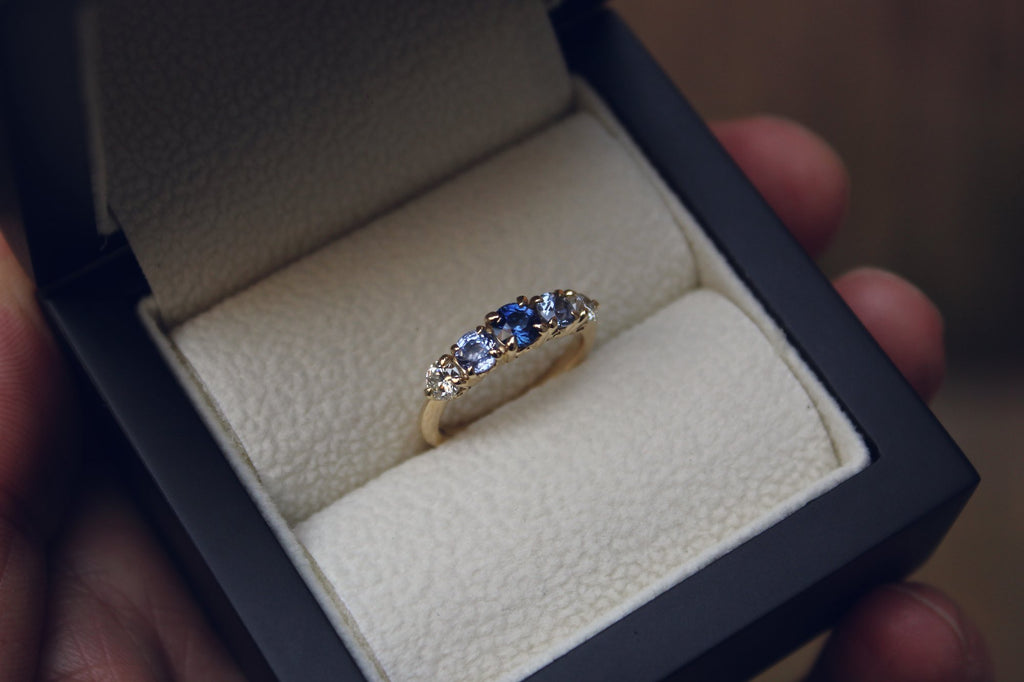 Moira Patience Fine Jewellery Bespoke Commission Sapphire and Diamond Engagement Ring in Edinburgh
