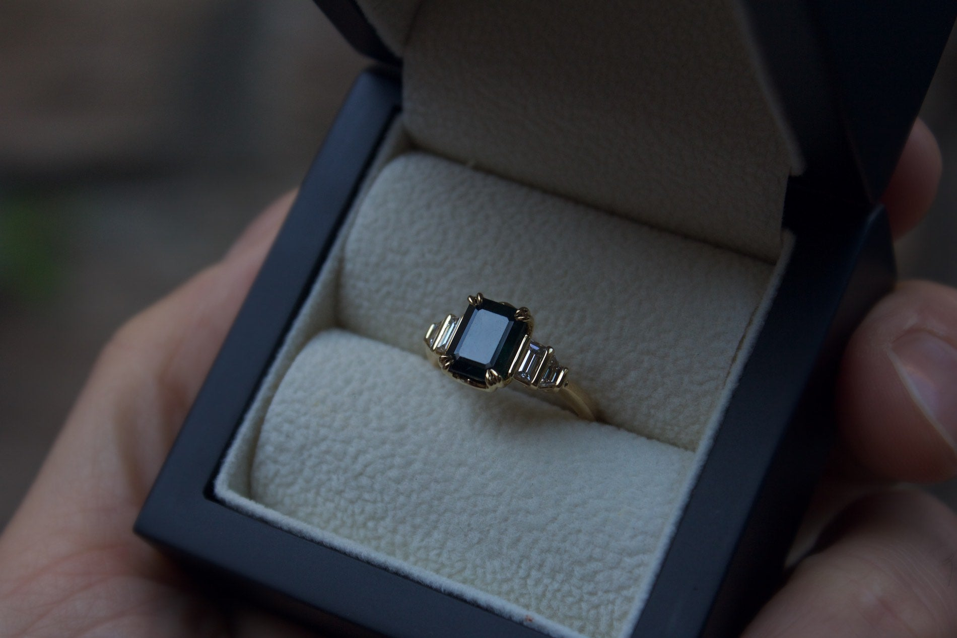 Teal Sapphire & Diamond Engagement Ring