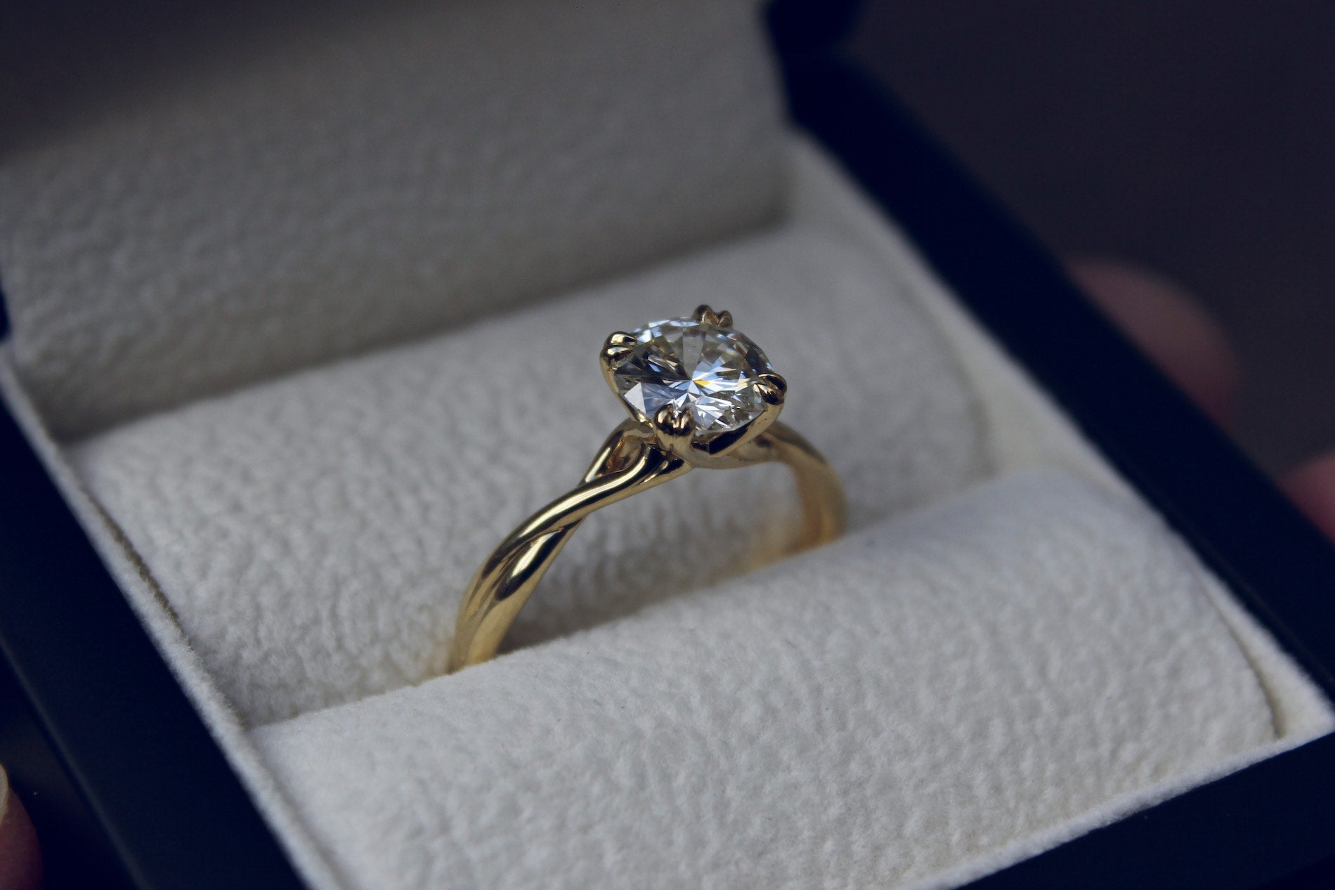 Twisted Diamond Engagement Ring