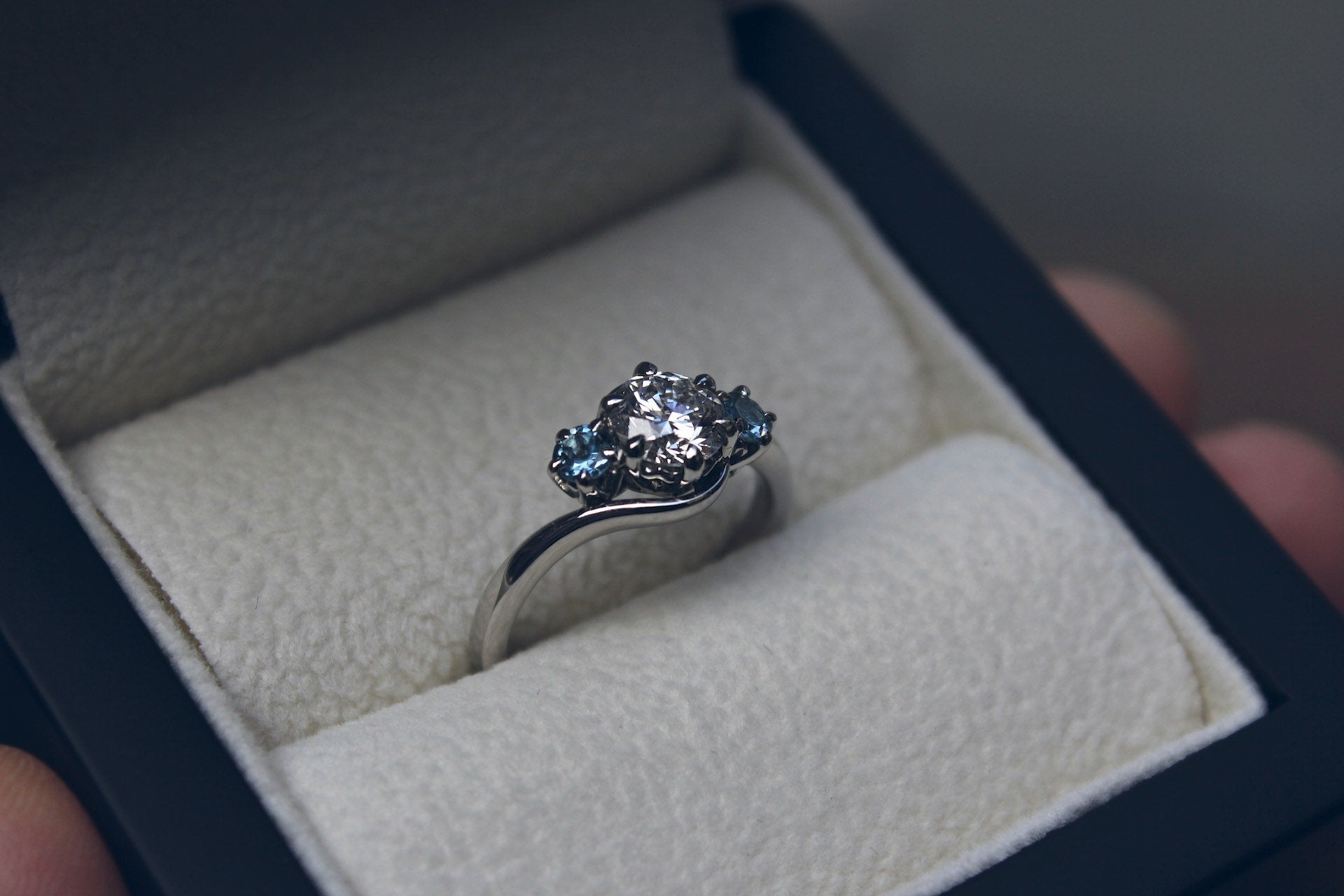 Twisted Aquamarine & Diamond Engagement Ring