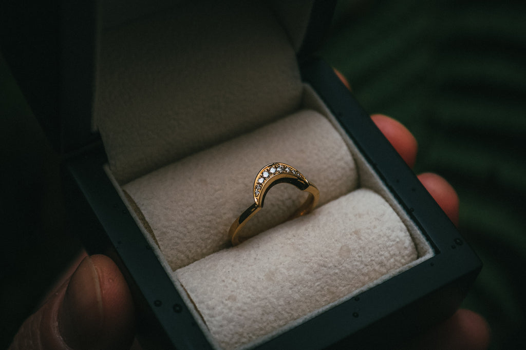 Bespoke Crescent Moon Fitted Diamond Wedding Ring