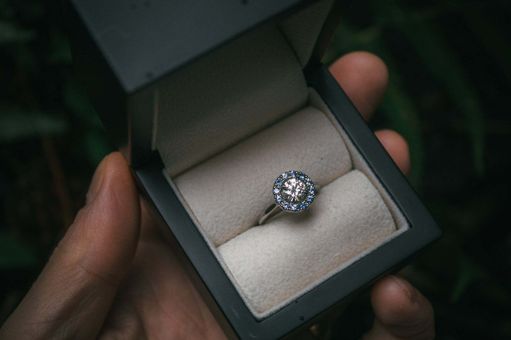 Bespoke Diamond Engagement Ring with Sapphire Halo in Edinburgh