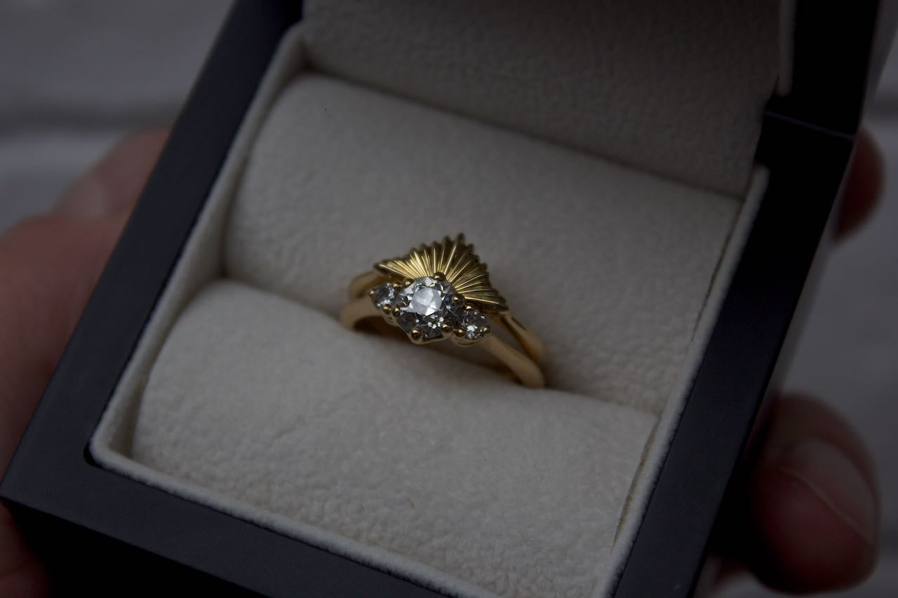 Moira Patience Fine Jewellery Bespoke Jazzy Gold Wedding Band for Diamond Engagement Ring Edinburgh
