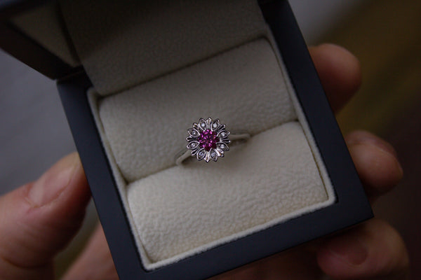 Pink Diamond Floral Ring