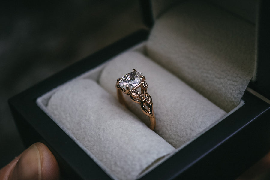 Bespoke Rose Gold Petal Diamond Engagement Ring