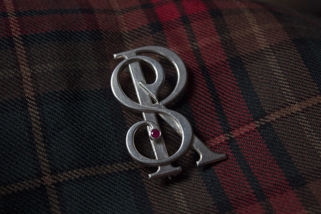 Moira Patience Fine Jewellery Bespoke Silver and Ruby Kilt Pin For Ruby Wedding Anniversary