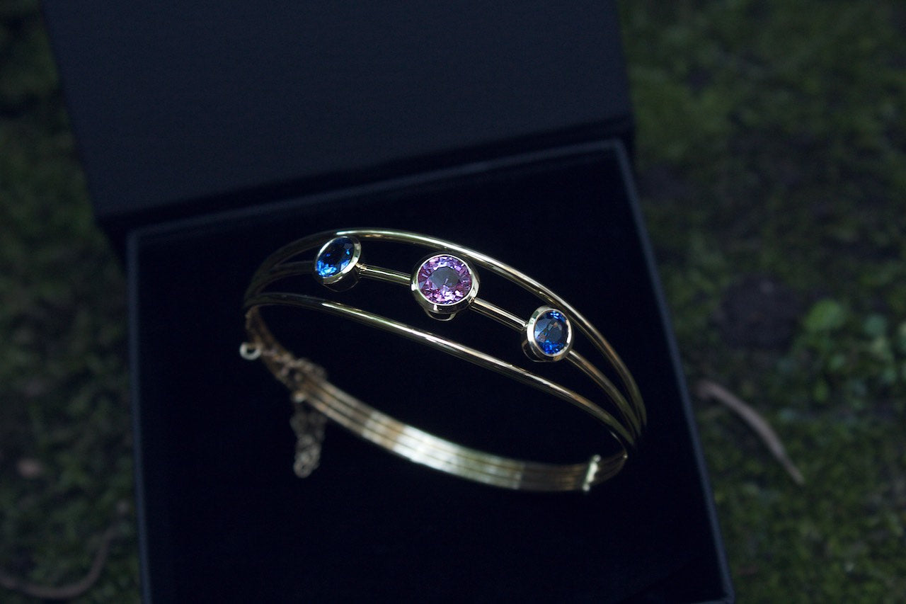 Moira Patience Fine Jewellery Bespoke Yellow Gold Bracelet With Sapphires