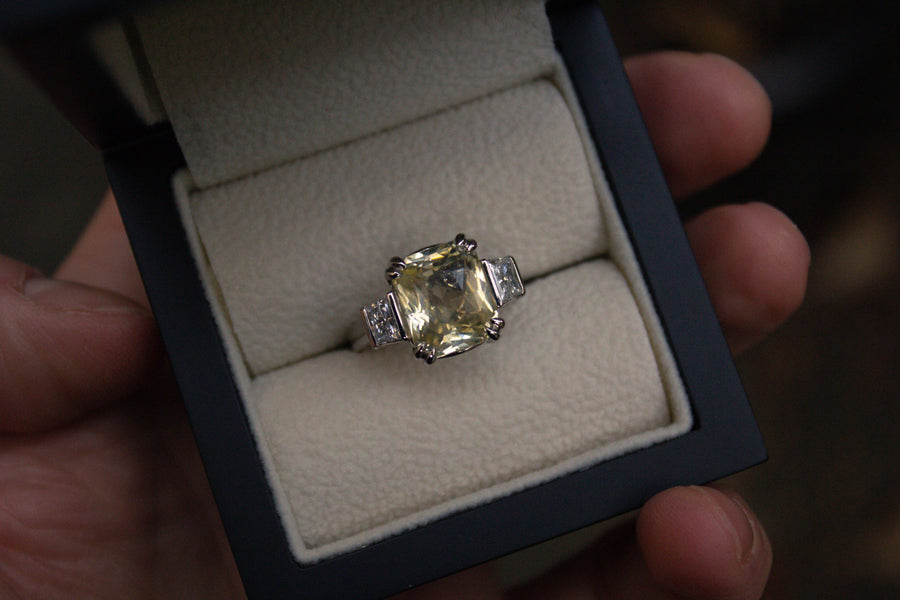 Moira Patience Bespoke Unheated Yellow Sapphire and diamond ring