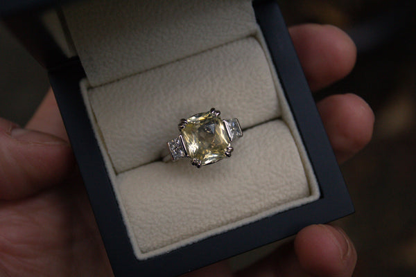 Unheated Yellow Sapphire & Diamond Ring