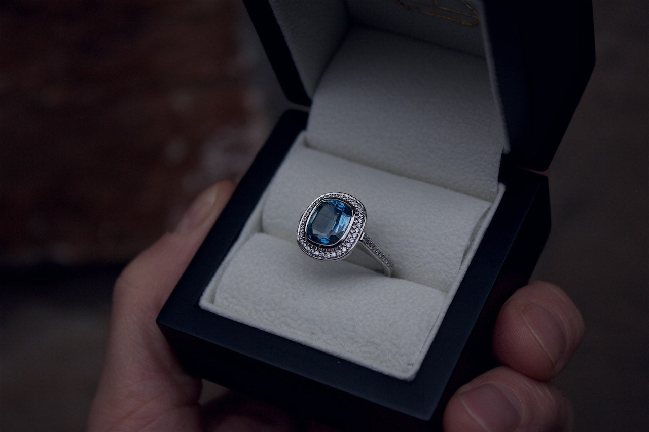Moira Patience Fine Jewellery Edinburgh Bespoke Sapphire and Diamond Halo Engagement Ring