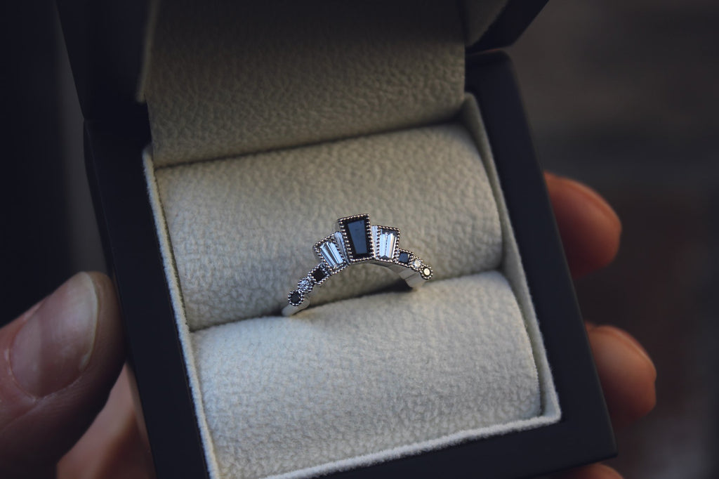 Bespoke Black and White Diamond Wedding Ring in Edinburgh