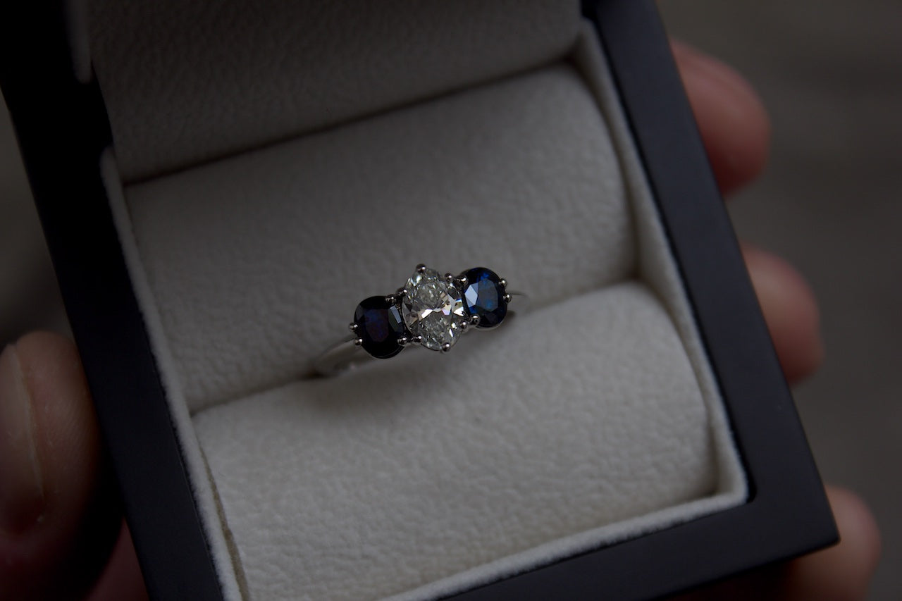 Moira Patience Jewellery Bespoke Sapphire and Diamond Engagement Ring Edinburgh