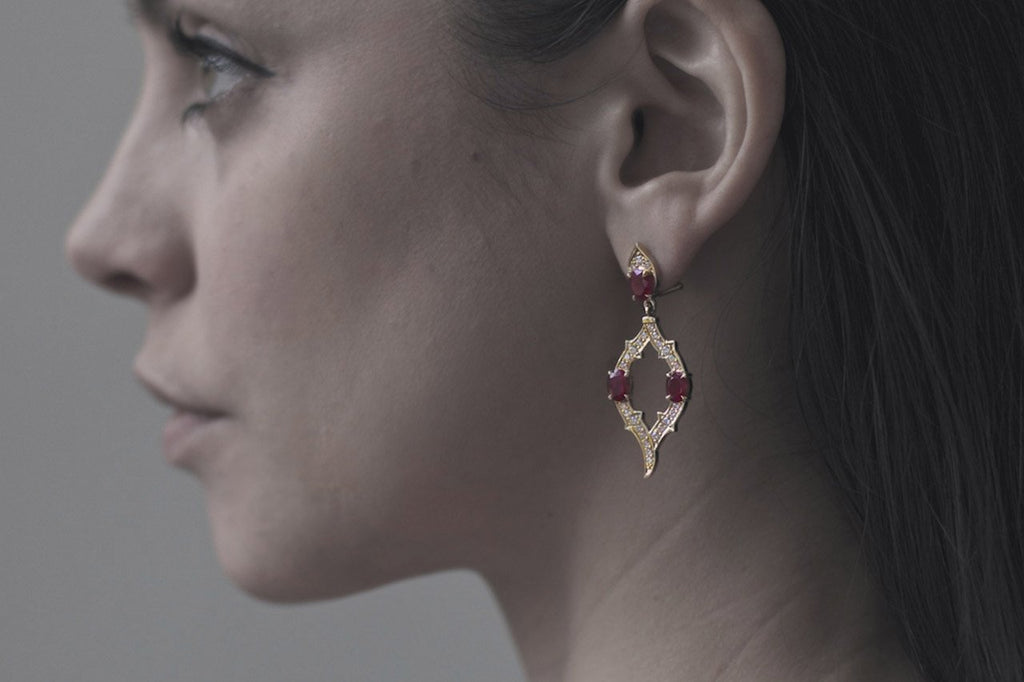 Patience_Jewellery_Bespoke_Gold_Ruby_Diamond_Earrings