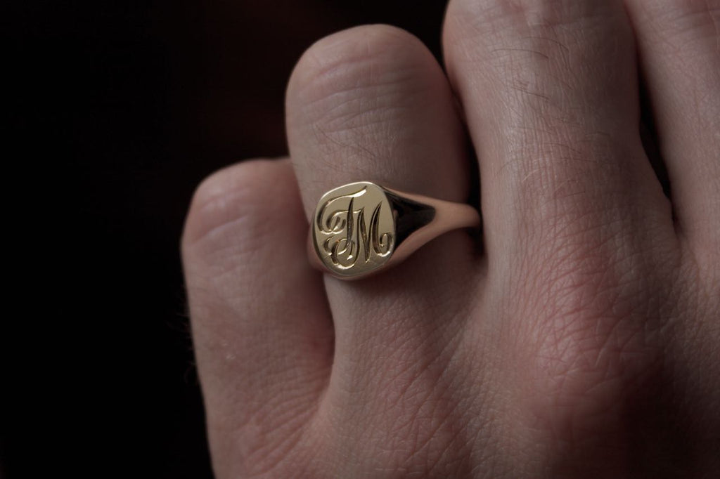 Patience Jewellery Hand Engraved Gold Signet Ring