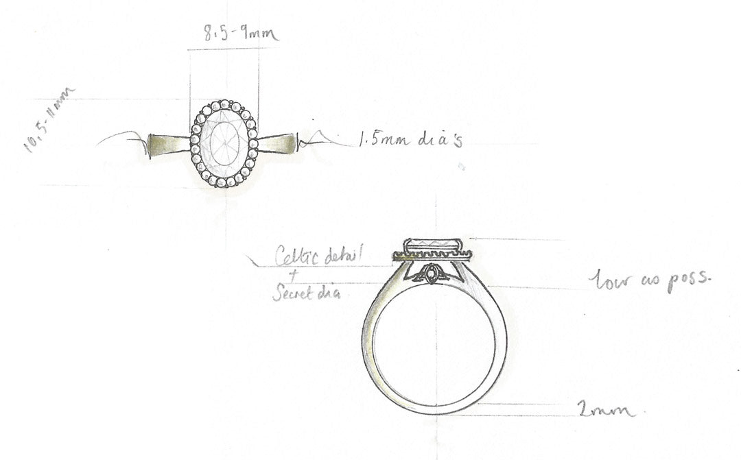 Moira Patience Fine Jewellery Bespoke Commission Canadian Oval Diamond Engagement Ring in Edinburgh