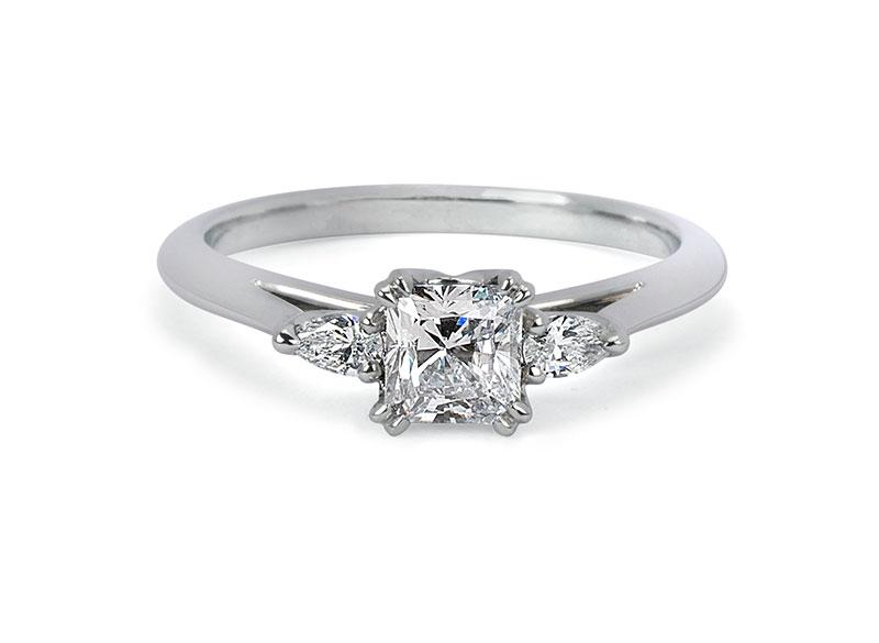 Moira Patience Fine Jewellery Radiant Cut Diamond Trilogy Ring in Platinum