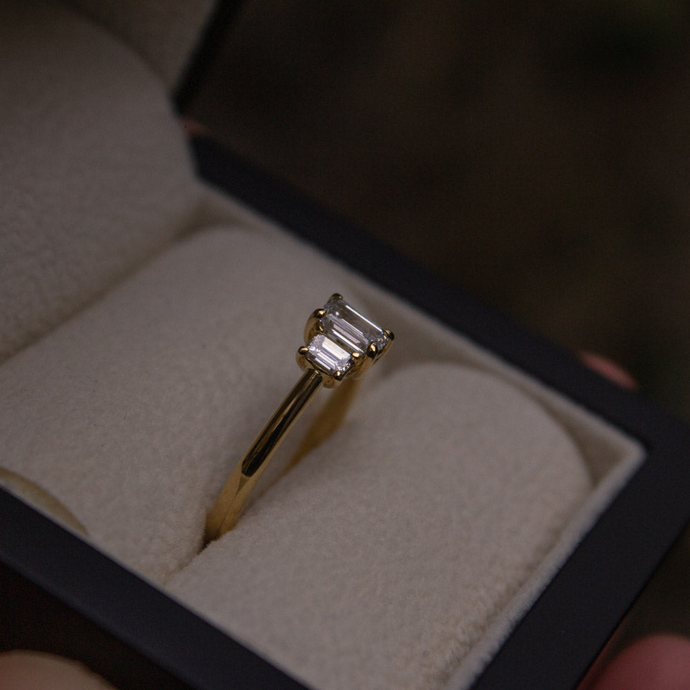 Bespoke three stone diamond engagement ring