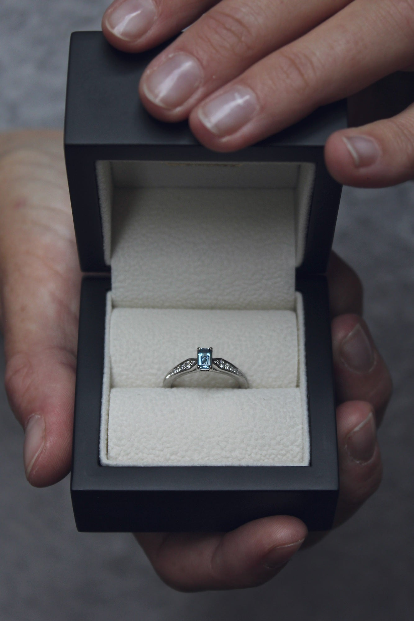 Moira Patience Fine Jewellery Bespoke Commission Aquamarine Diamond Engagement Ring in Edinburgh