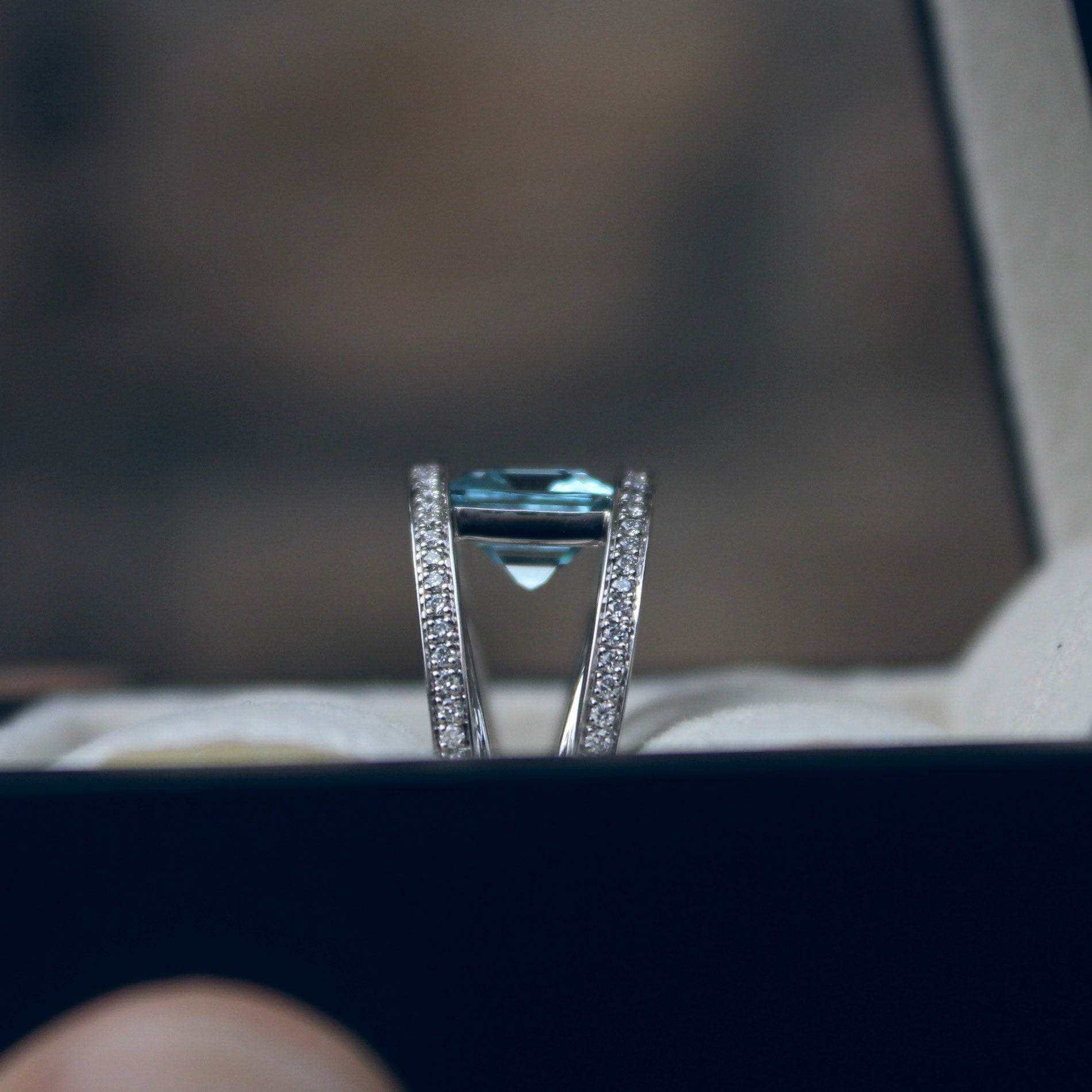 Moira Patience Fine Jewellery Bespoke Commission Aquamarine Diamond Platinum Cocktail Ring in Edinburgh Scotland