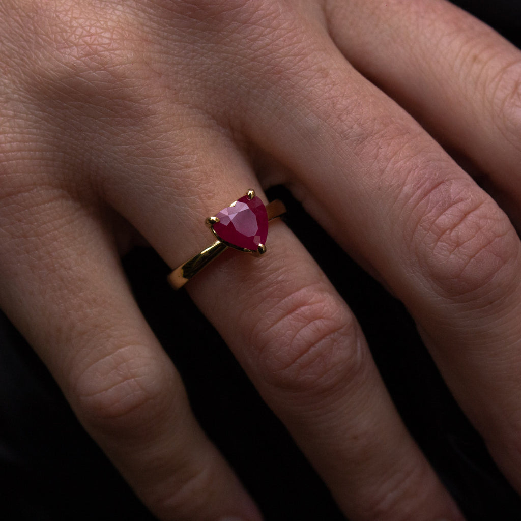 Bespoke heart-shaped ruby ring