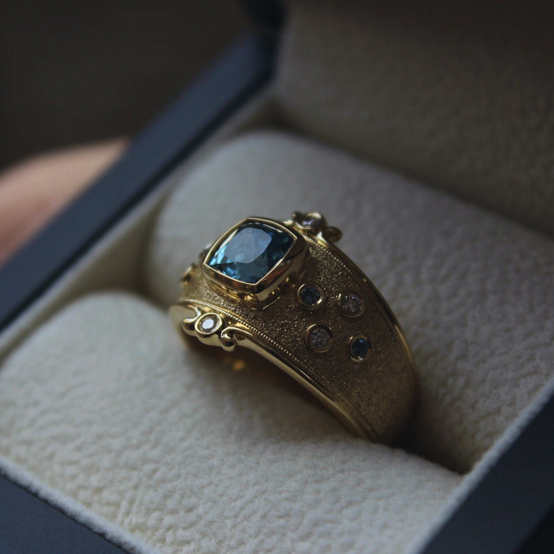 Moira Patience Fine Jewellery Bespoke Commission Aquamarine and Diamond Ring Edinburgh