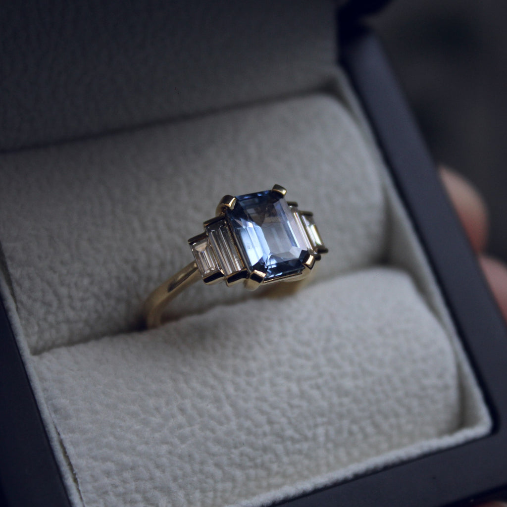 Moira Patience Fine Jewellery Bespoke Commission Ceylon Sapphire and Diamond Engagement Ring in Edinburgh
