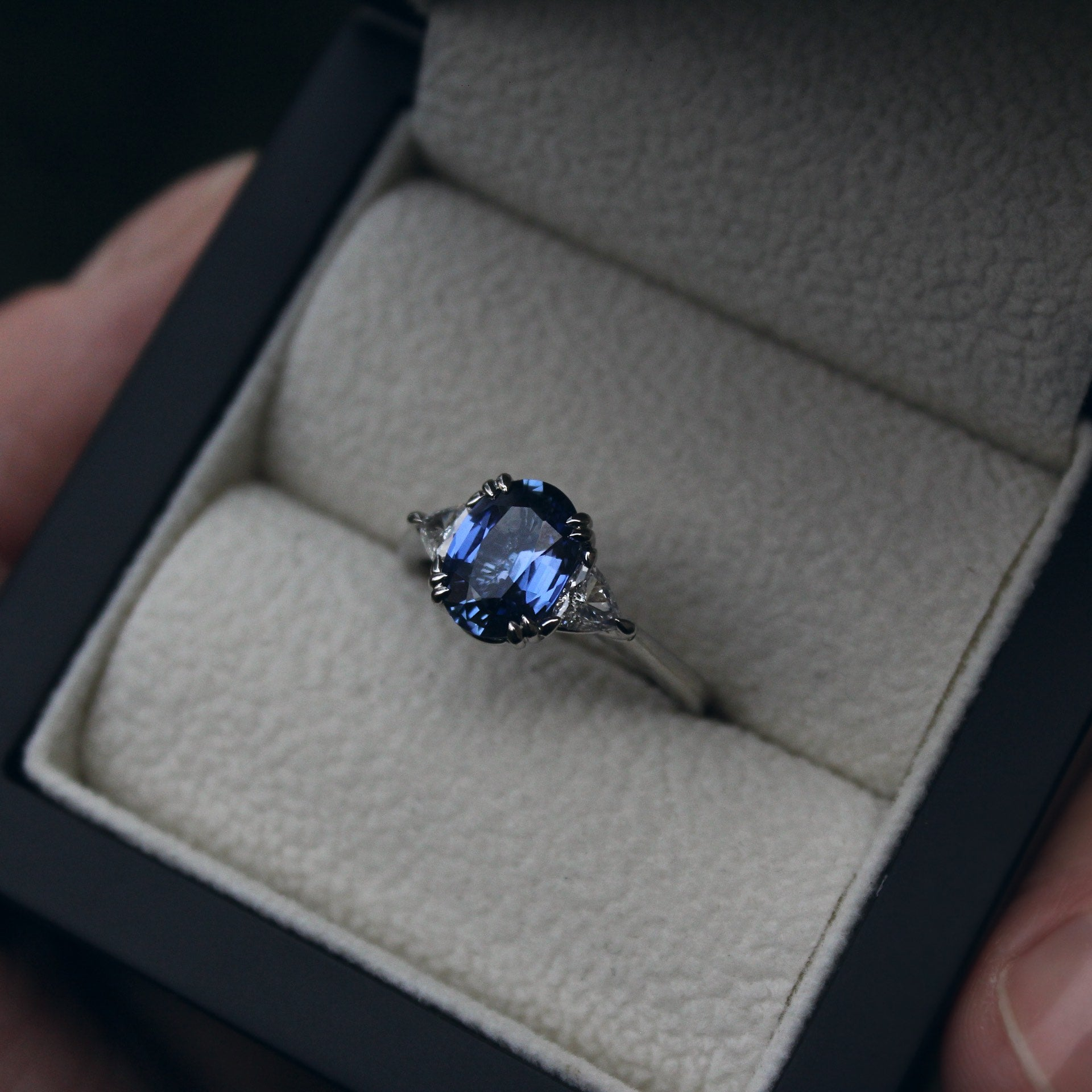 Moira Patience Fine Jewellery Bespoke Commission Ceylon Sapphire and Diamond Engagement Ring in Edinburgh Scotland