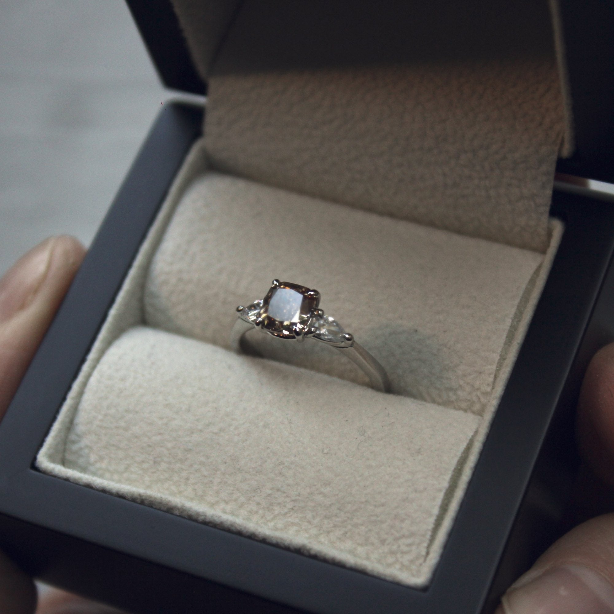 Moira Patience Fine Jewellery Bespoke Commission Champagne Diamond Engagement Ring in Edinburgh