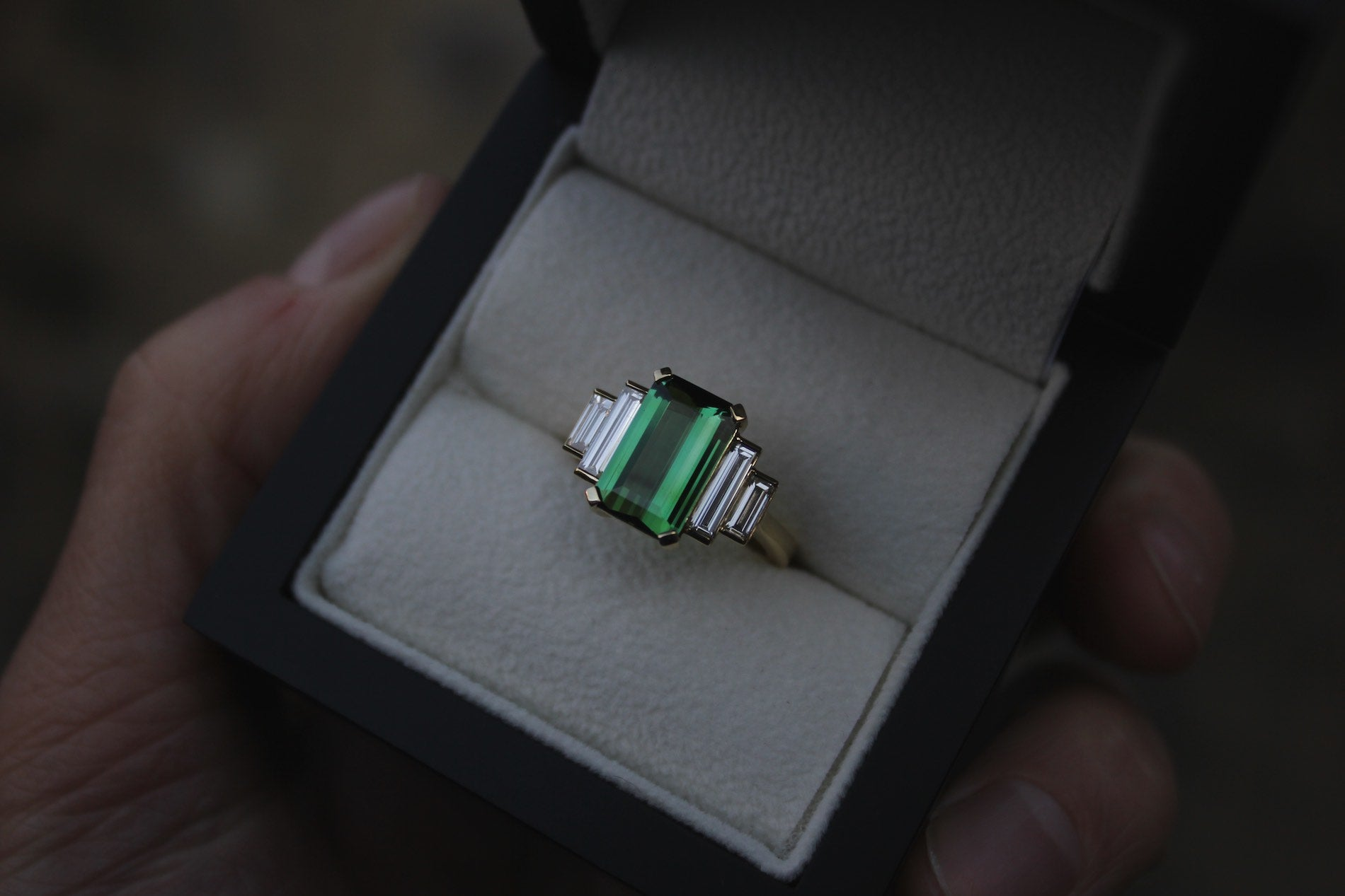 Moira Patience Fine Jewellery Bespoke Commission Chrome Green Tourmaline and Diamond Cocktail Ring in Edinburgh