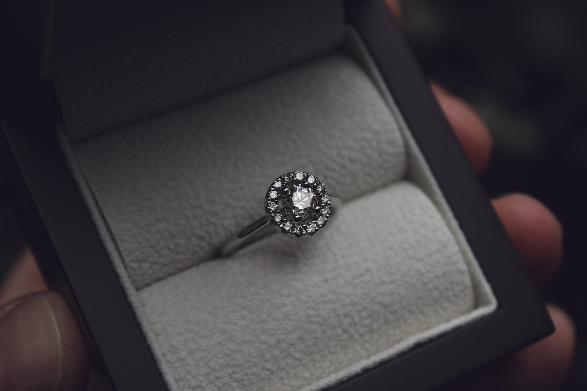 Moira Patience Fine Jewellery Bespoke Commission Diamond Engagement Ring with Grey Diamond Halo