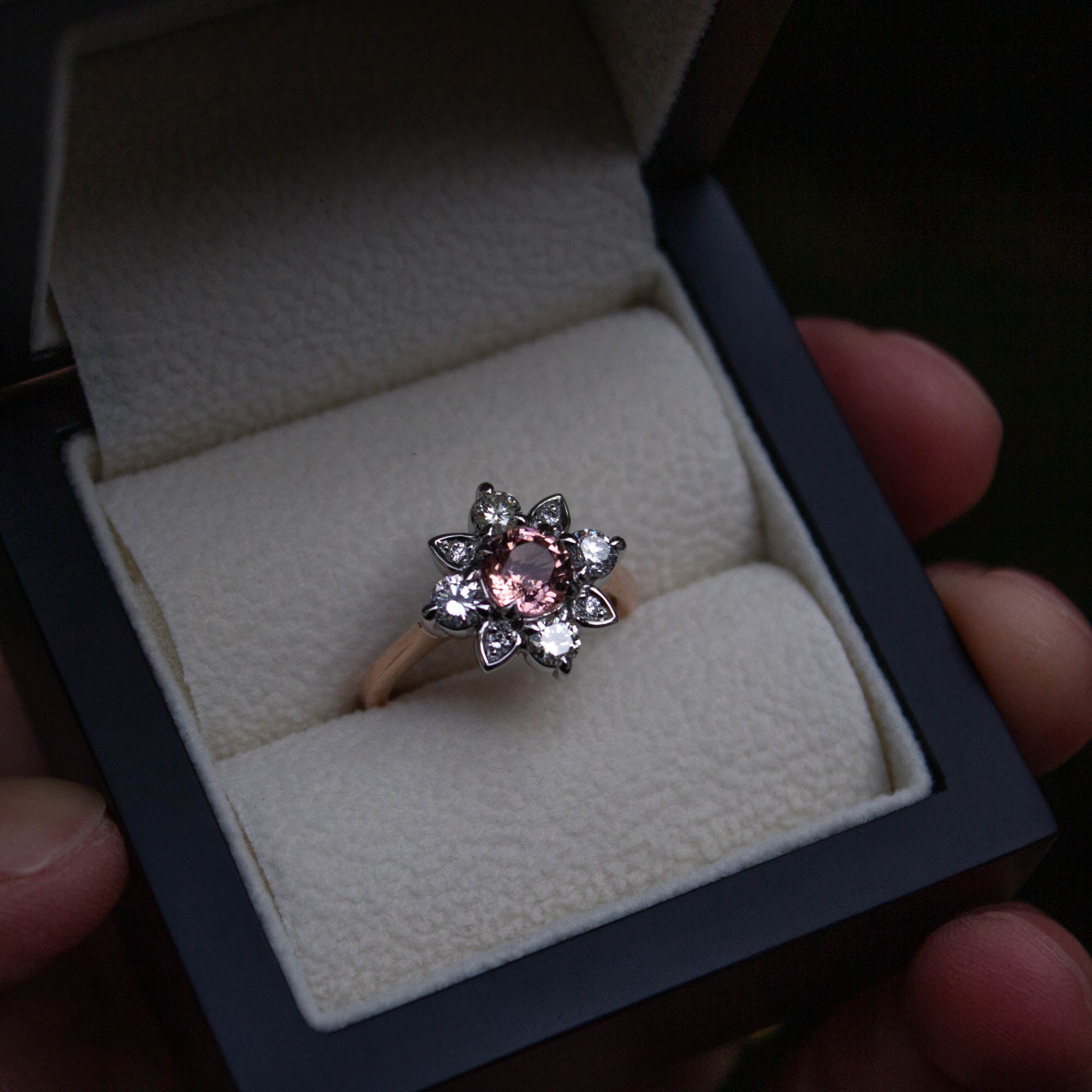 Bespoke garnet and diamond engagement ring