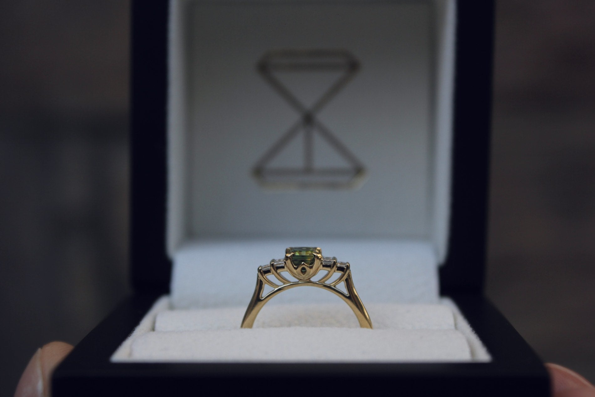 Moira Patience Fine Jewellery Bespoke Commission Gold Green Sapphire and Diamond Engagement Ring Edinburgh