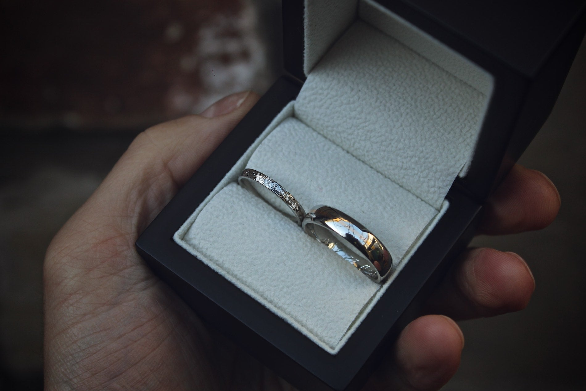 Moira Patience Fine Jewellery Bespoke Commission Hand Engraved Platinum Wedding Rings