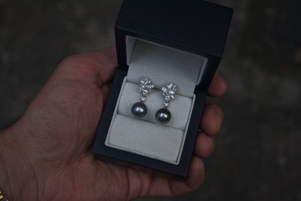 Moira Patience Fine Jewellery Bespoke Commission Interchangeable White Gold Diamond and Pearl Drop Earrings Edinburgh