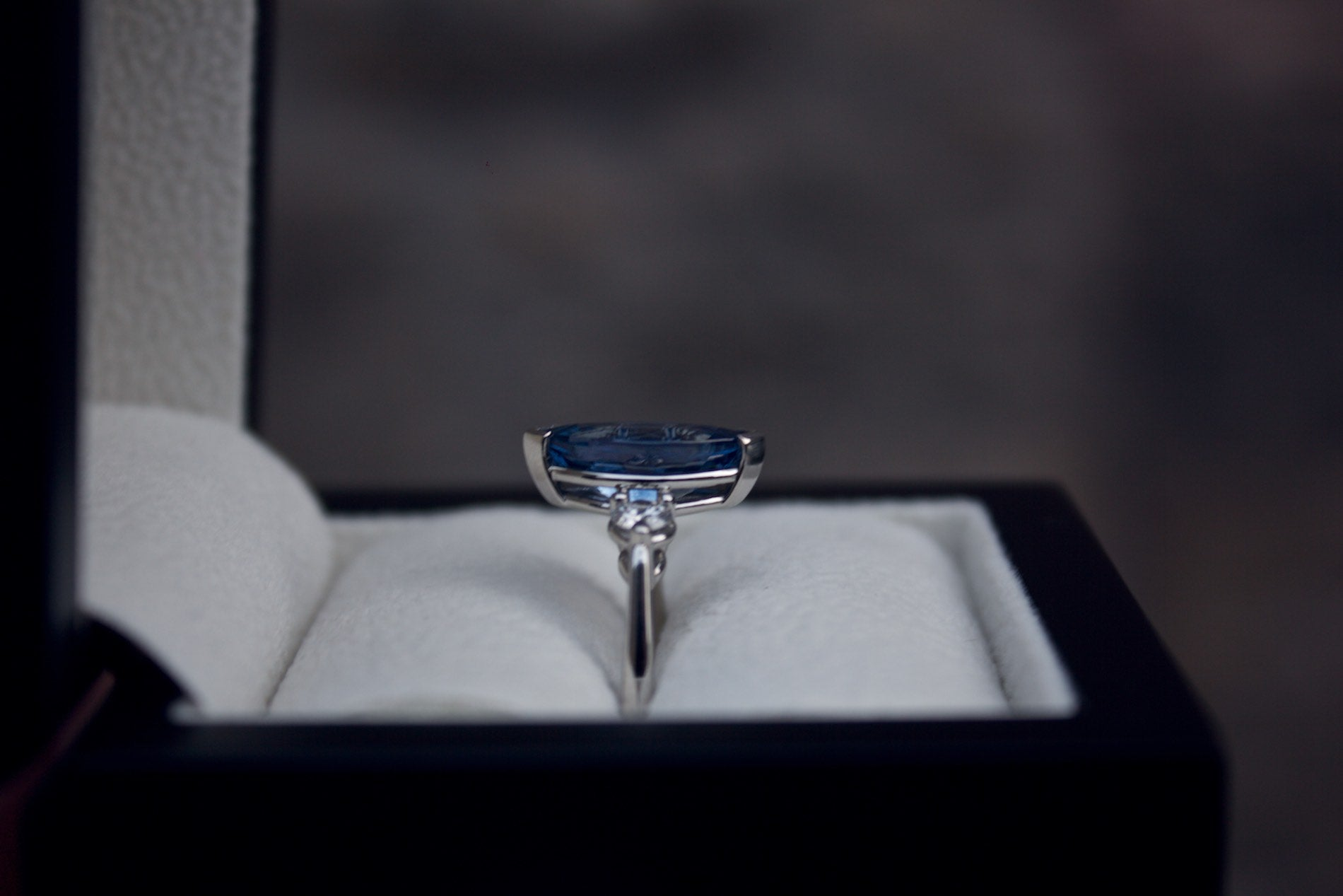 Moira Patience Fine Jewellery Bespoke Commission Marquise Sapphire and Diamond Ring Edinburgh