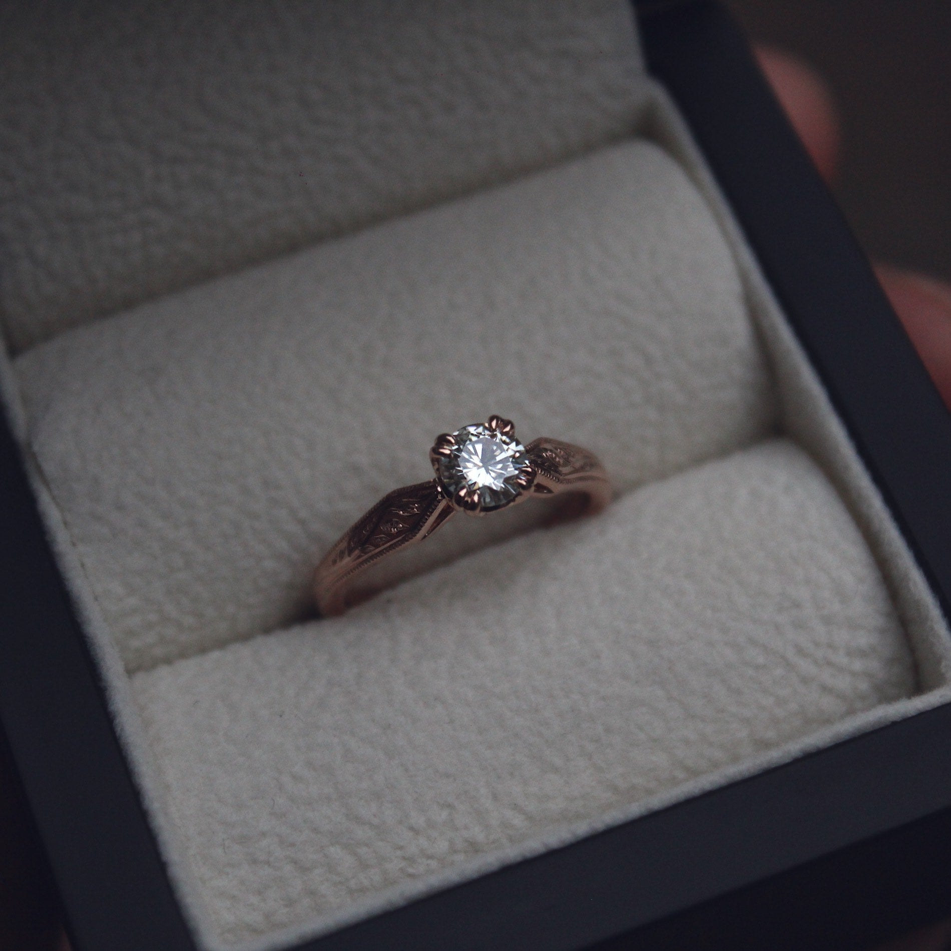 Moira Patience Fine Jewellery Bespoke Commission Moissanite Rose Gold Ring in Edinburgh
