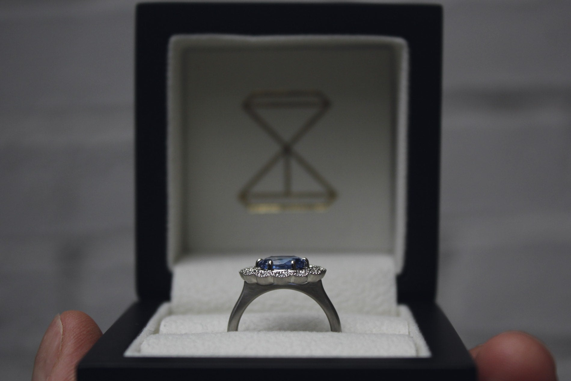 Moira Patience Fine Jewellery Bespoke Commission Natural Sapphire and Diamond Engagement Ring in Edinburgh