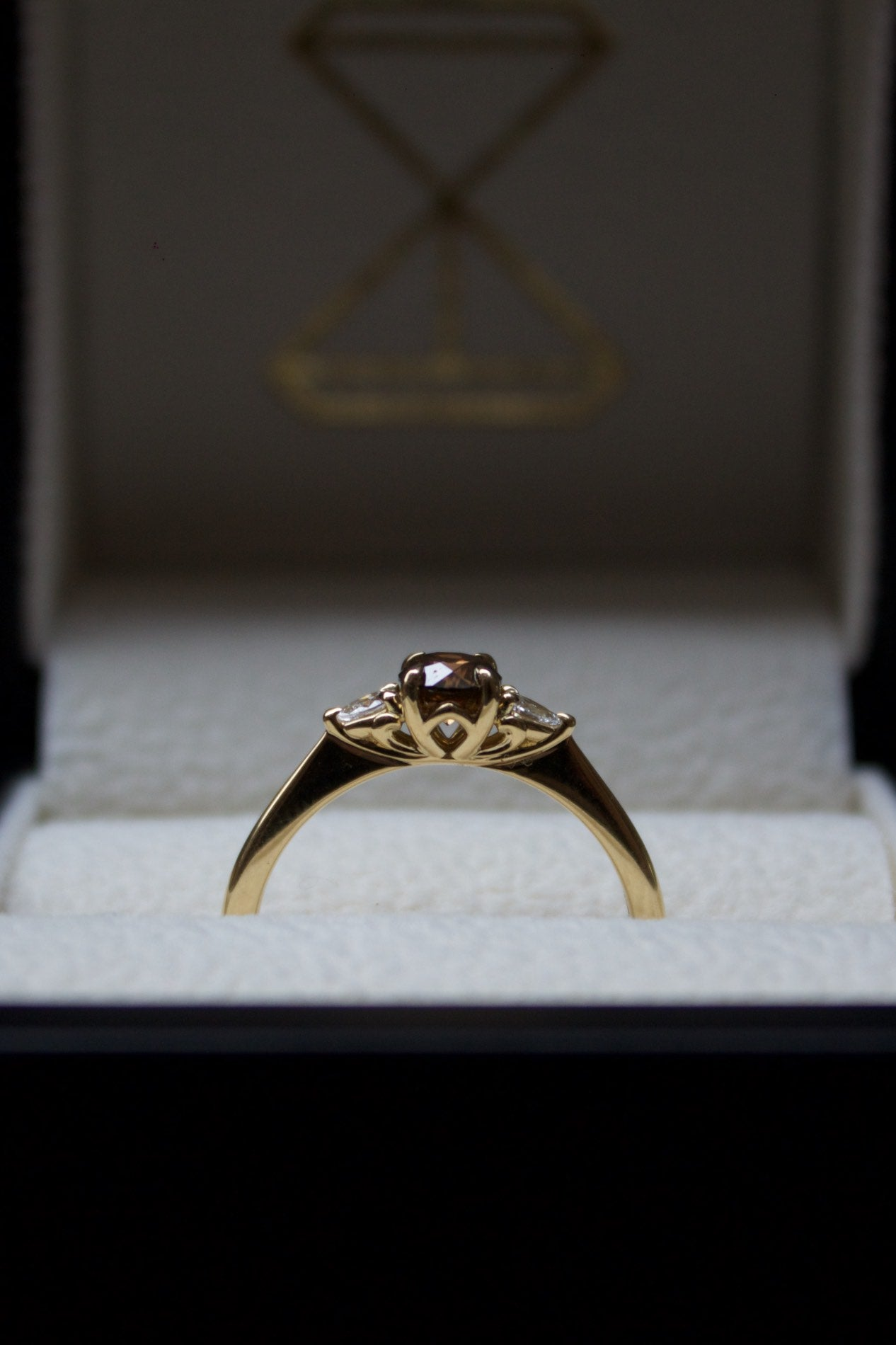 Moira Patience Fine Jewellery Bespoke Commission Norwegian Cognac Diamond Engagement Ring in Edinburgh