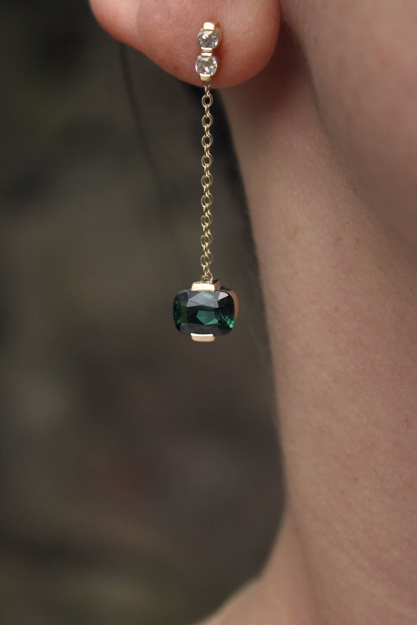 Moira Patience Fine Jewellery Bespoke Commission Remodelled Green Tourmaline Earrings and Pendant in Edinburgh 6