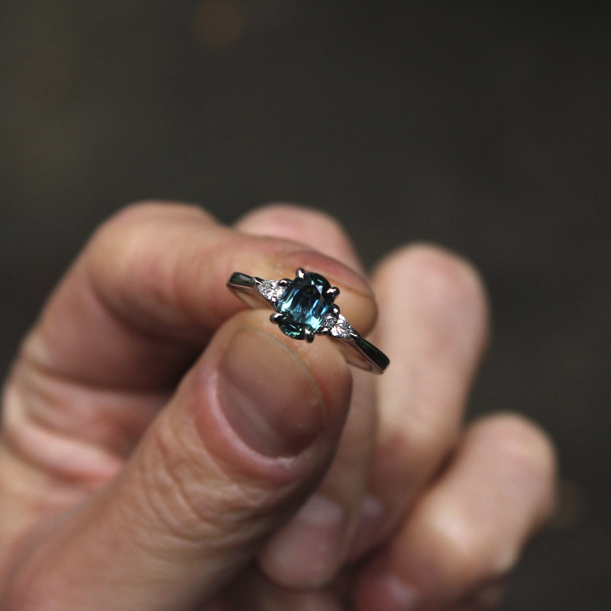 Moira Patience Fine Jewellery Bespoke Commission Teal Sapphire and Diamond Engagement Ring in Edinburgh