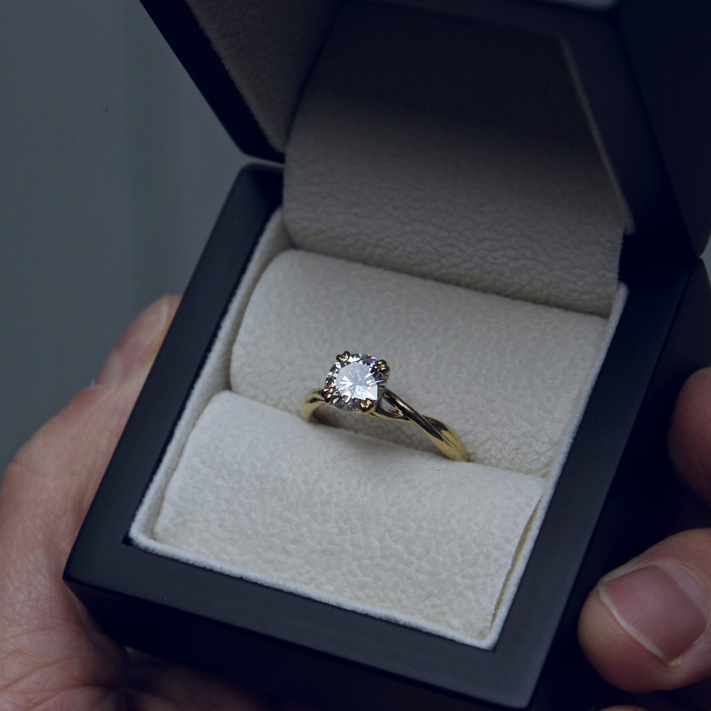 Moira Patience Fine Jewellery Bespoke Commission Twist Diamond Engagement Ring in Edinburgh