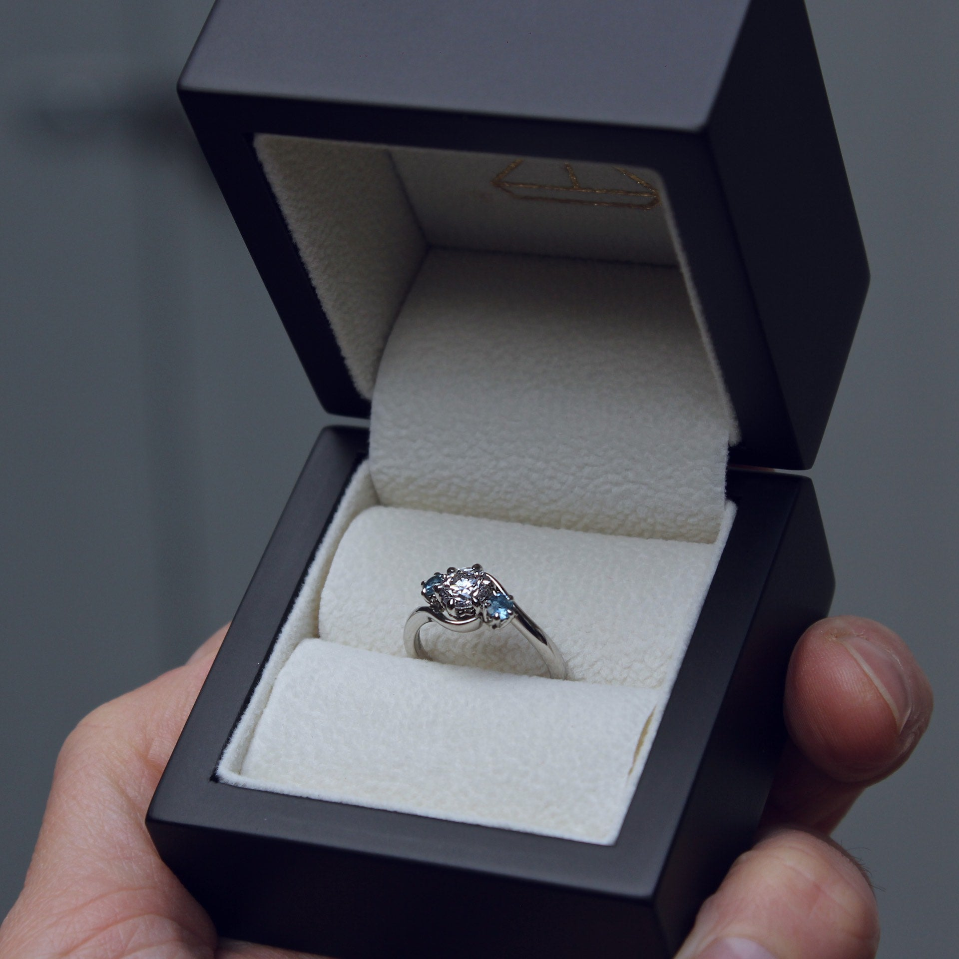 Moira Patience Fine Jewellery Bespoke Commission Twisted Aquamarine and Diamond Engagement Ring in Edinburgh Scotland