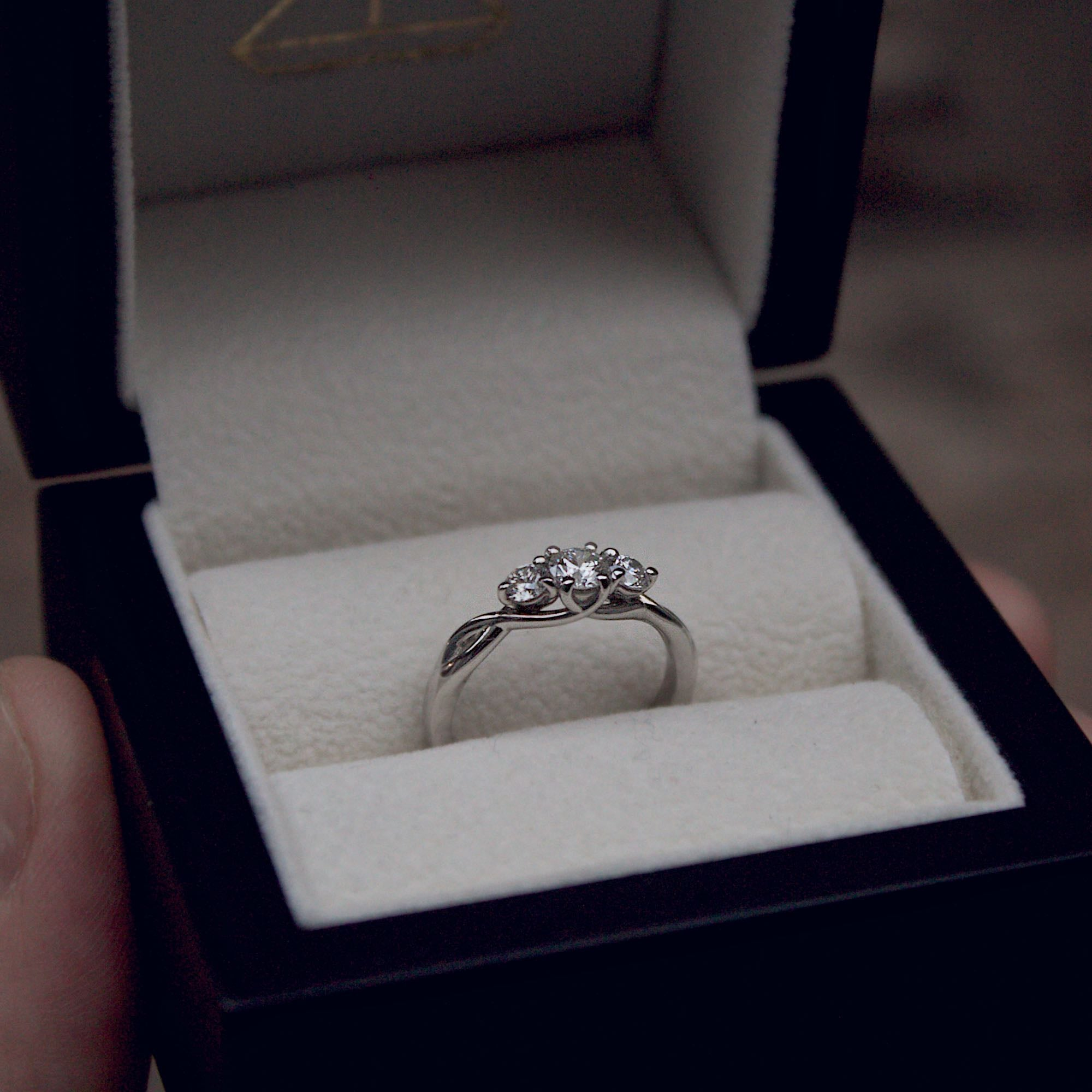 Trilogy rings are without a doubt my most popular design for engagement rings. Whether it's a diamond in the middle or